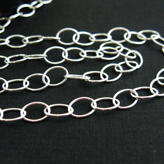 Sterling Silver Chain - 8X6 Big Round Oval Cable Chain (sold per foot)