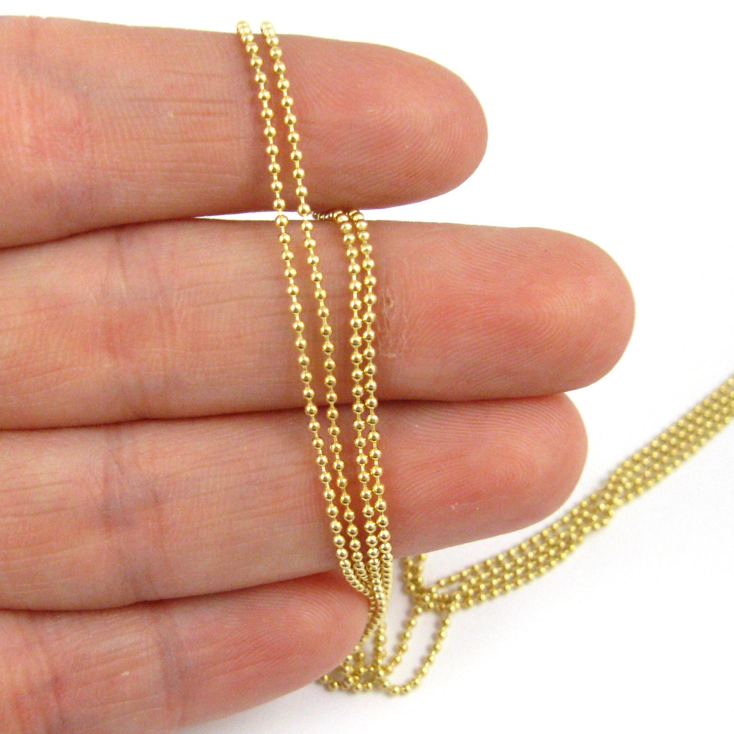 22K Gold plated Sterling Silver Chain- Bulk Ball Chain 1.2mm  (Sold Per Foot)