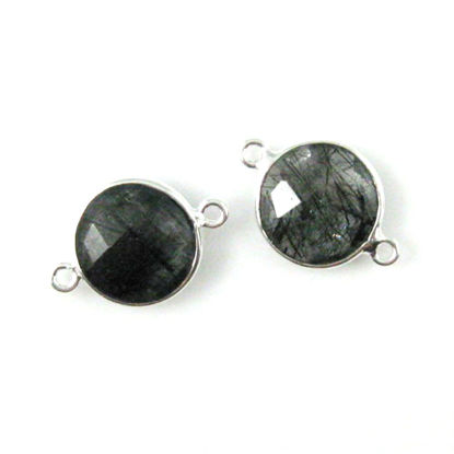 Bezel Gemstone Links - Sterling Silver - Faceted Coin Shape - Black Rutilated Quartz (Sold per 2 pieces)