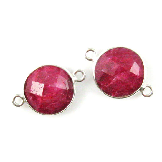 Gemstone Links Sold Per 2 Pcs Faceted Coin Shape Dyed Ruby Vermeil