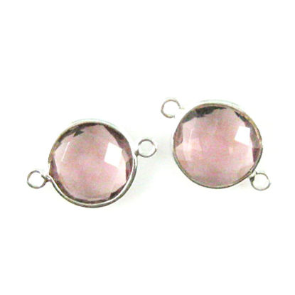 Bezel Gemstone Links - Sterling Silver - Faceted Coin Shape - Pink Amethyst Quartz (Sold per 2 pieces)