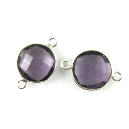 Bezel Gemstone Links - Sterling Silver - Faceted Coin Shape - Amethyst Quartz (Sold per 2 pieces)