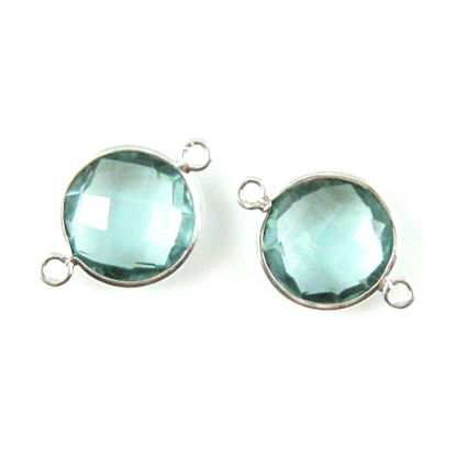 Bezel Gemstone Links - Sterling Silver - Faceted Coin Shape - Aqua Quartz (Sold per 2 pieces)
