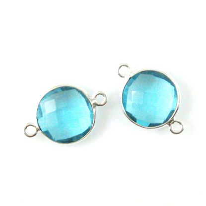 Bezel Gemstone Links - Sterling Silver - Faceted Coin Shape - Blue Topaz Quartz (Sold per 2 pieces)