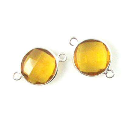 Bezel Gemstone Links - Sterling Silver - Faceted Coin Shape - Citrine Quartz (Sold per 2 pieces)