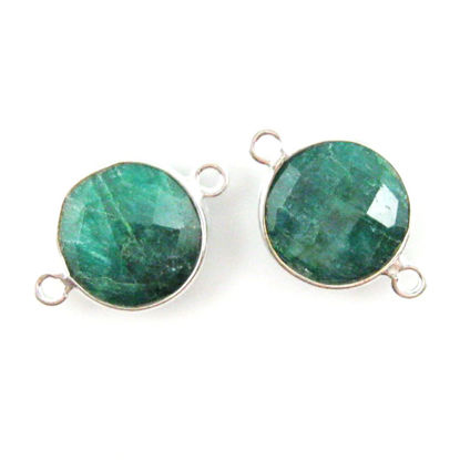 Bezel Gemstone Links - Sterling Silver - Faceted Coin Shape - Dyed Emerald (Sold per 2 pieces)