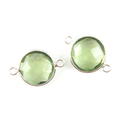 Bezel Gemstone Links - Sterling Silver - Faceted Coin Shape - Green Amethyst Quartz (Sold per 2 pieces)