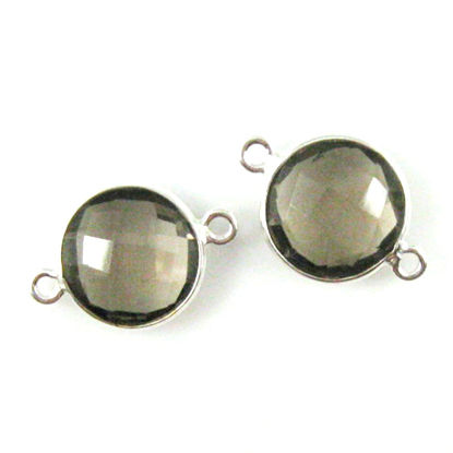 Bezel Gemstone Links - Sterling Silver - Faceted Coin Shape - Smokey Quartz (Sold per 2 pieces)