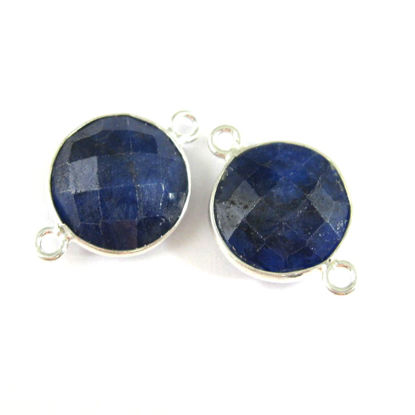 Bezel Gemstone Links- Connector - 925 Sterling Silver - Faceted Coin Shape - Blue Sapphire Dyed - September Birthstone (Sold per 2 pieces)