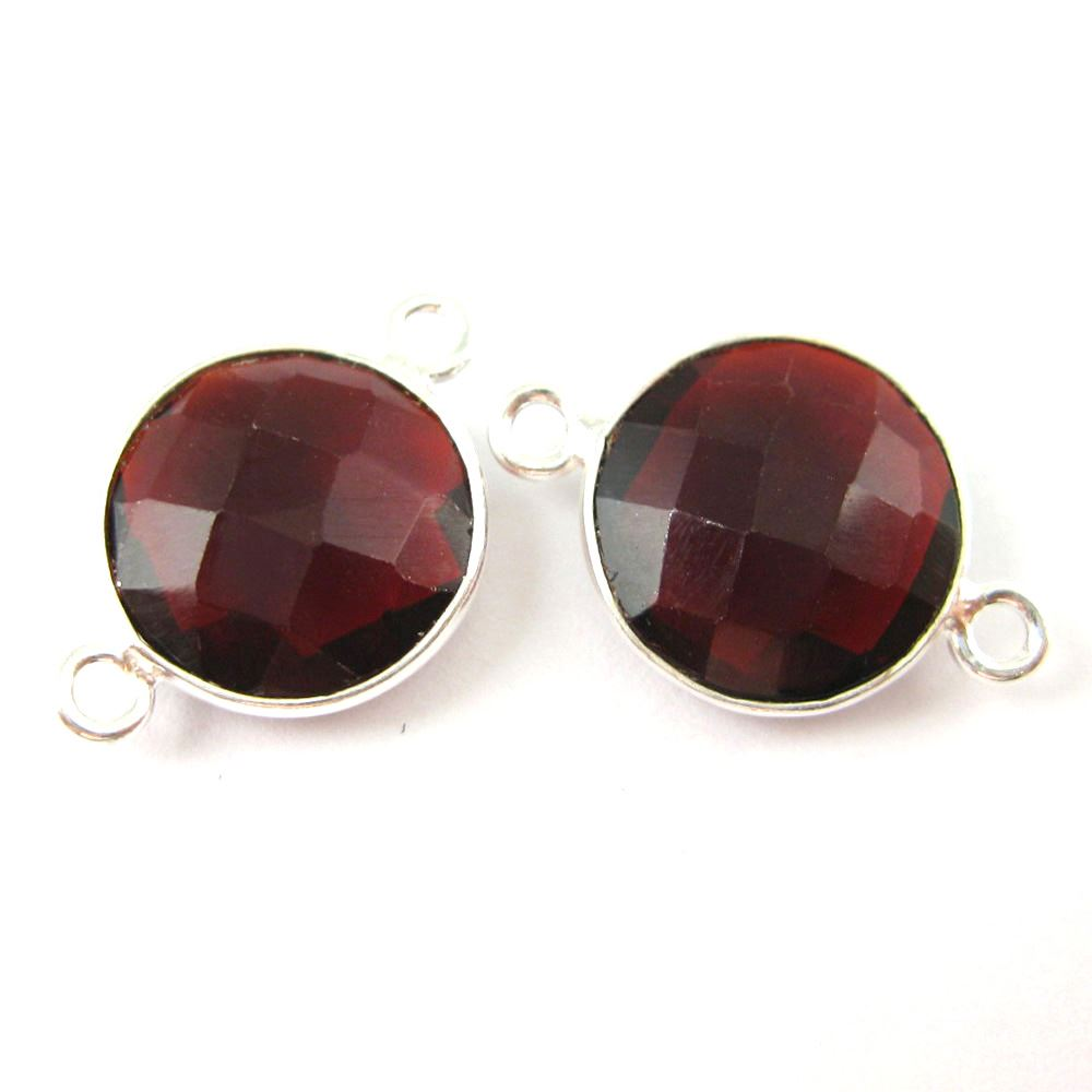 Bezel Gemstone Links- Connector - 925 Sterling Silver - Faceted Coin Shape - Garnet Quartz- January Birthstone (Sold per 2 pieces)