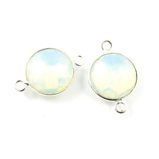 Bezel Gemstone Links- Connector - 925 Sterling Silver - Faceted Coin Shape - Opalite Quartz- October Birthstone (Sold per 2 pieces)