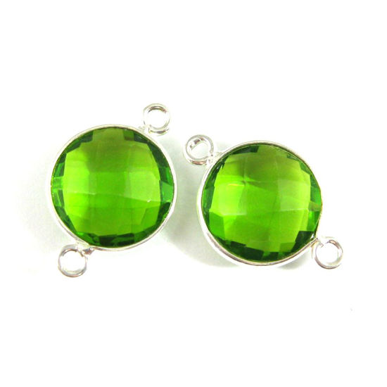 Bezel Gemstone Links- Connector - 925 Sterling Silver - Faceted Coin Shape - Peridot  August Birthstone (sold per pair)
