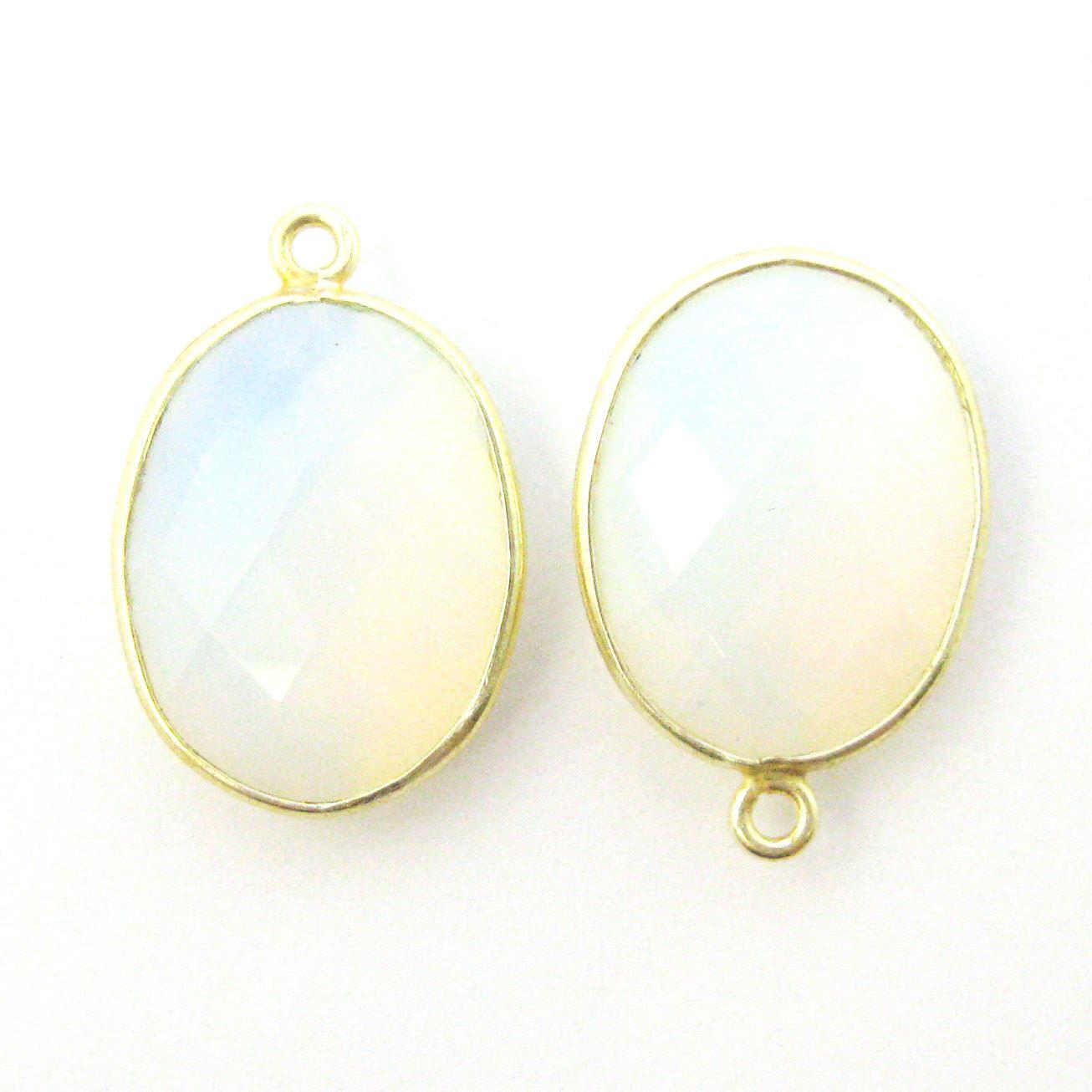 Bezel Gemstone Pendant - 14x18mm Faceted Oval - Opalite Quartz (Sold per 2 pieces)