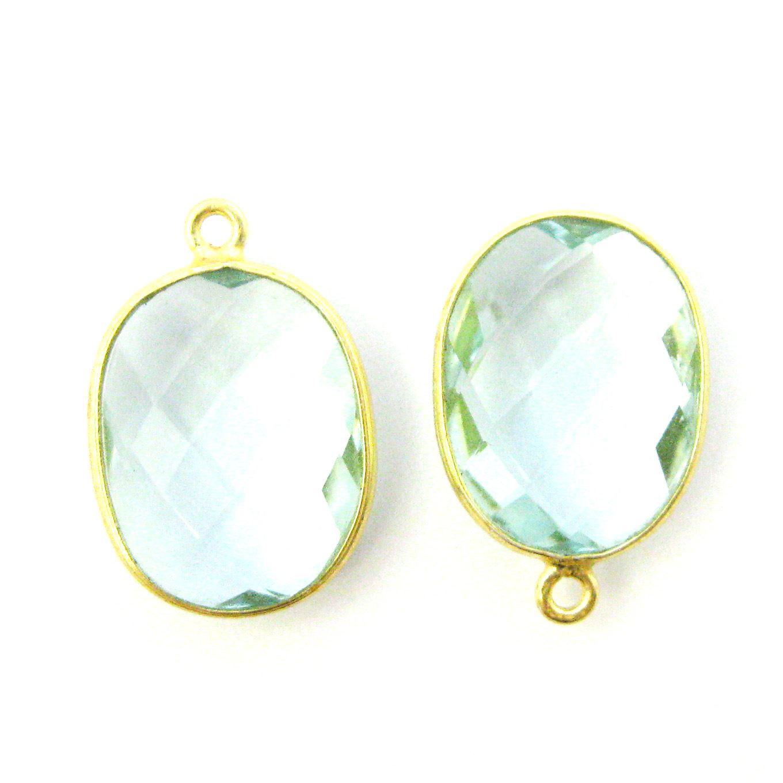 Bezel Gemstone Pendant - 14x18mm Faceted Oval - Aqua Quartz (Sold per 2 pieces)