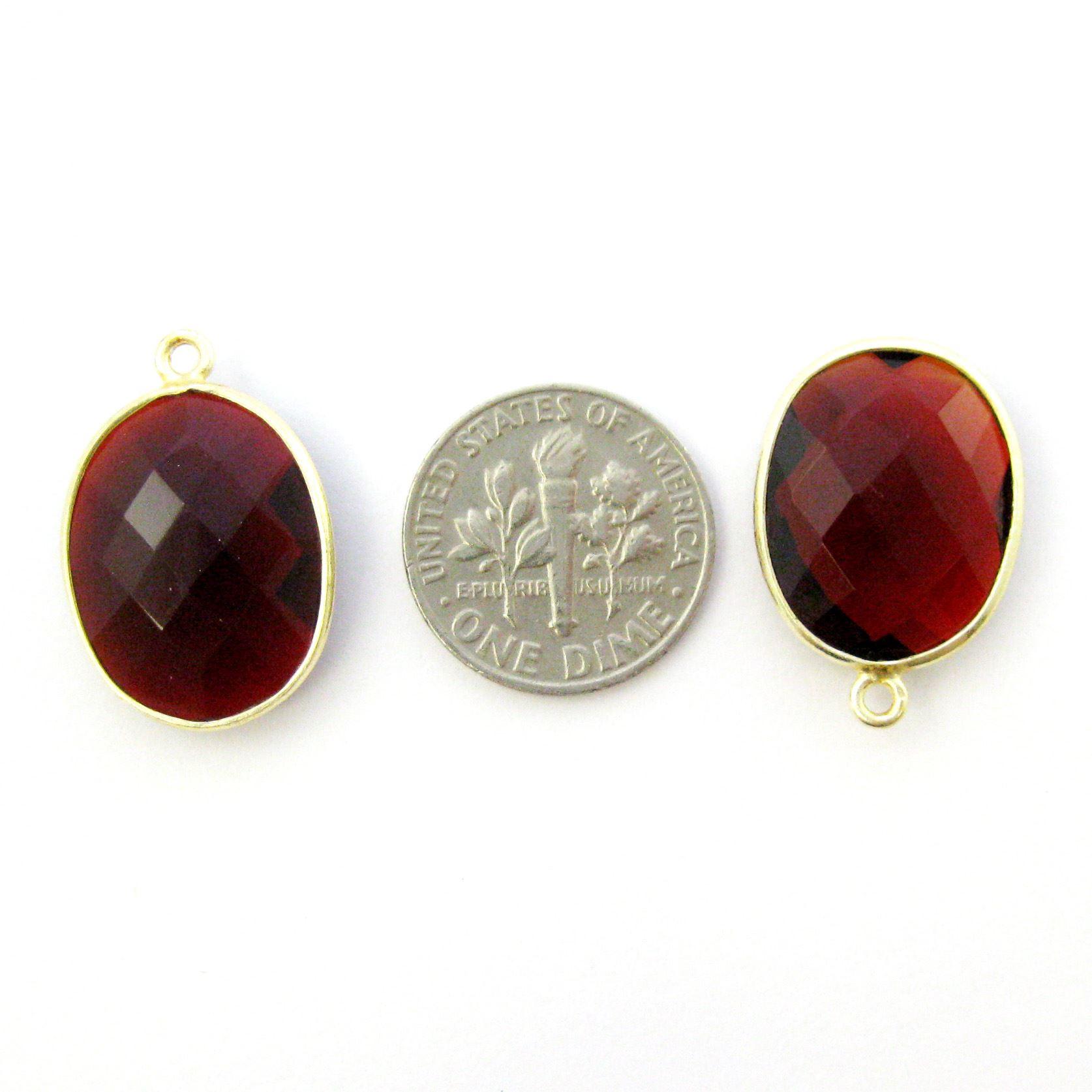 Bezel Gemstone Pendant - 14x18mm Faceted Oval - Garnet Quartz (Sold per 2 pieces)