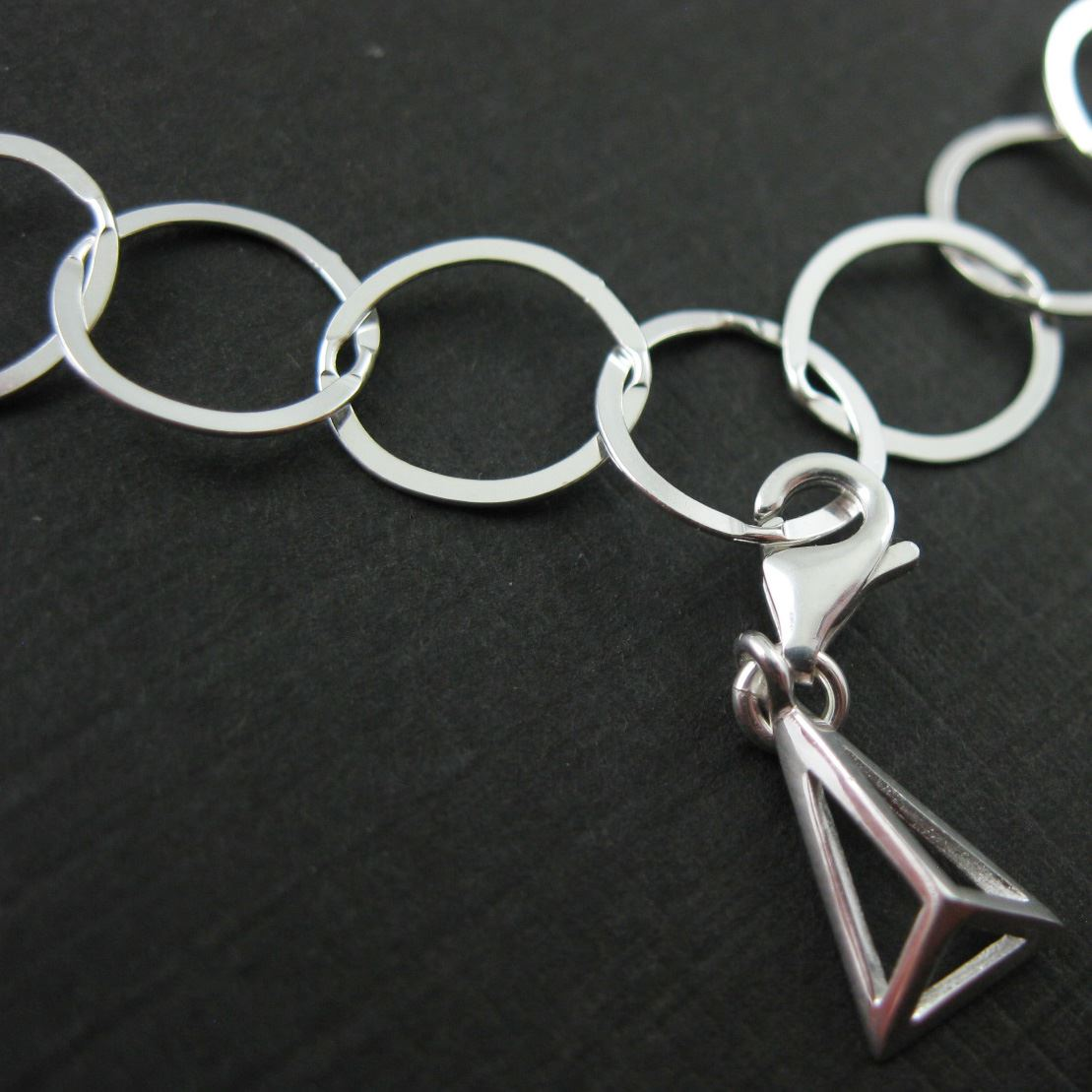Sterling Silver Hollow Pyramid Charm - Charm with Clasp - Charm Bracelet Charm- Add on Charm