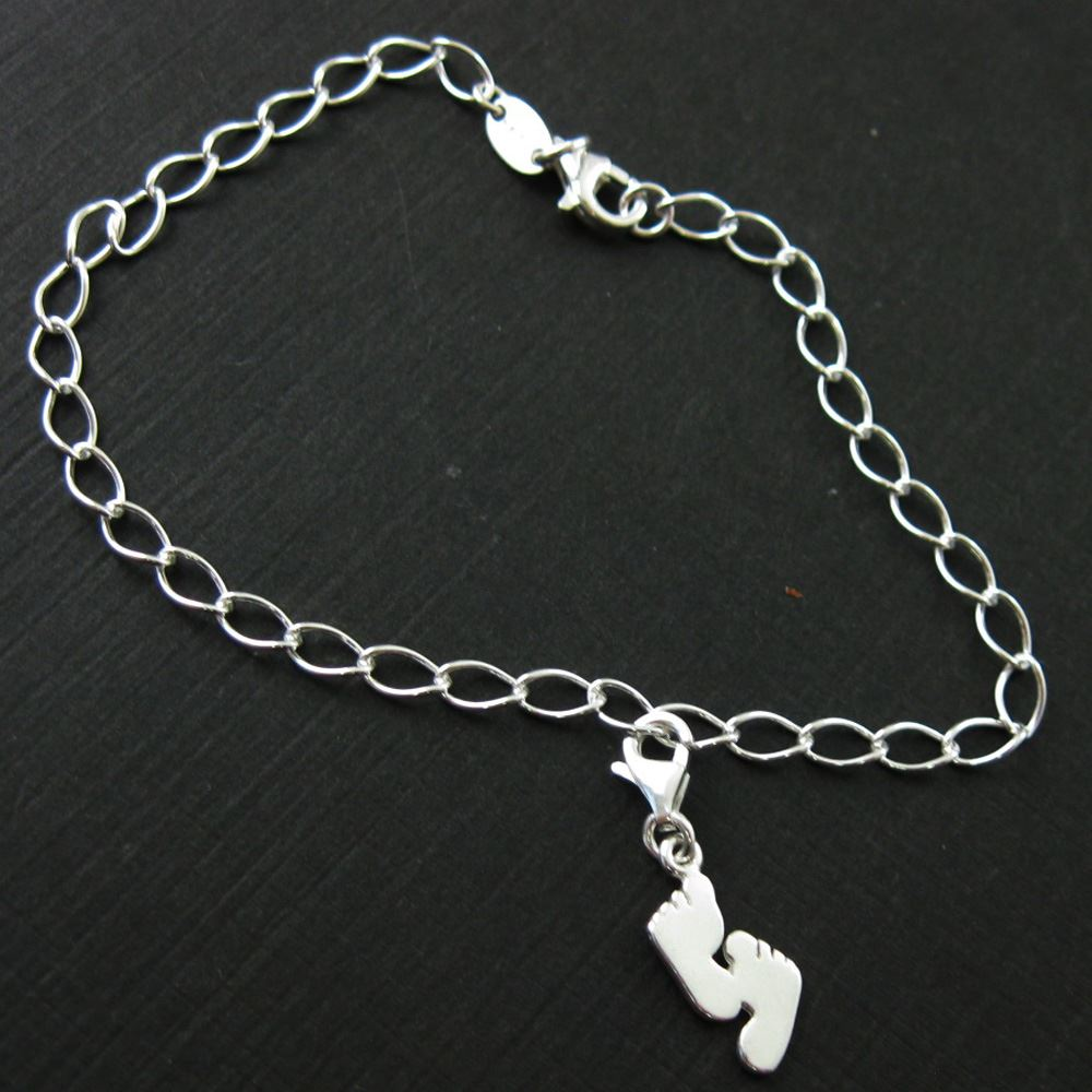Sterling Silver Footprint Charm - Charm with Clasp - Charm Bracelet Charm- Add on Charm