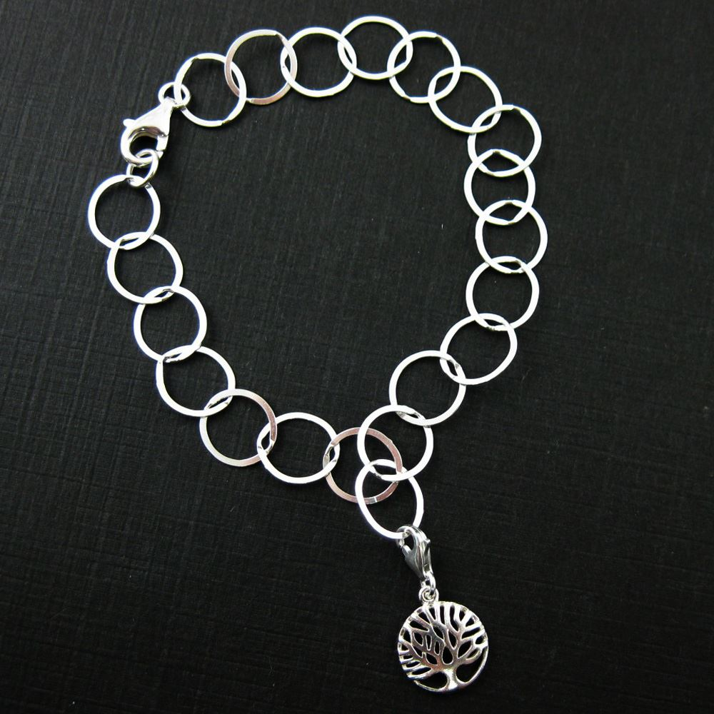 Sterling Silver Tree of Life Charm- Charm with Clasp - Charm Bracelet Charm- Add on Charm