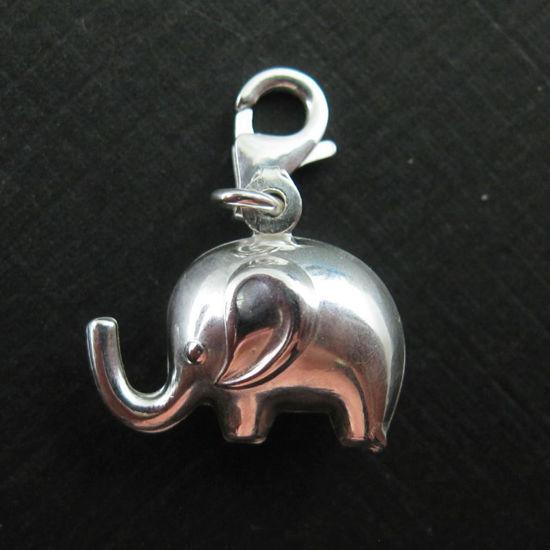 Sterling Silver Elephant Charm- Charm with Clasp - Charm Bracelet Charm- Add on Charm