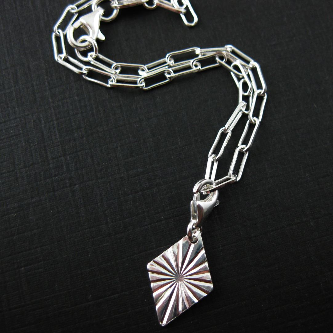 Sterling Silver Textured Diamond Charm - Charm with Clasp - Charm Bracelet Charm- Add on Charm