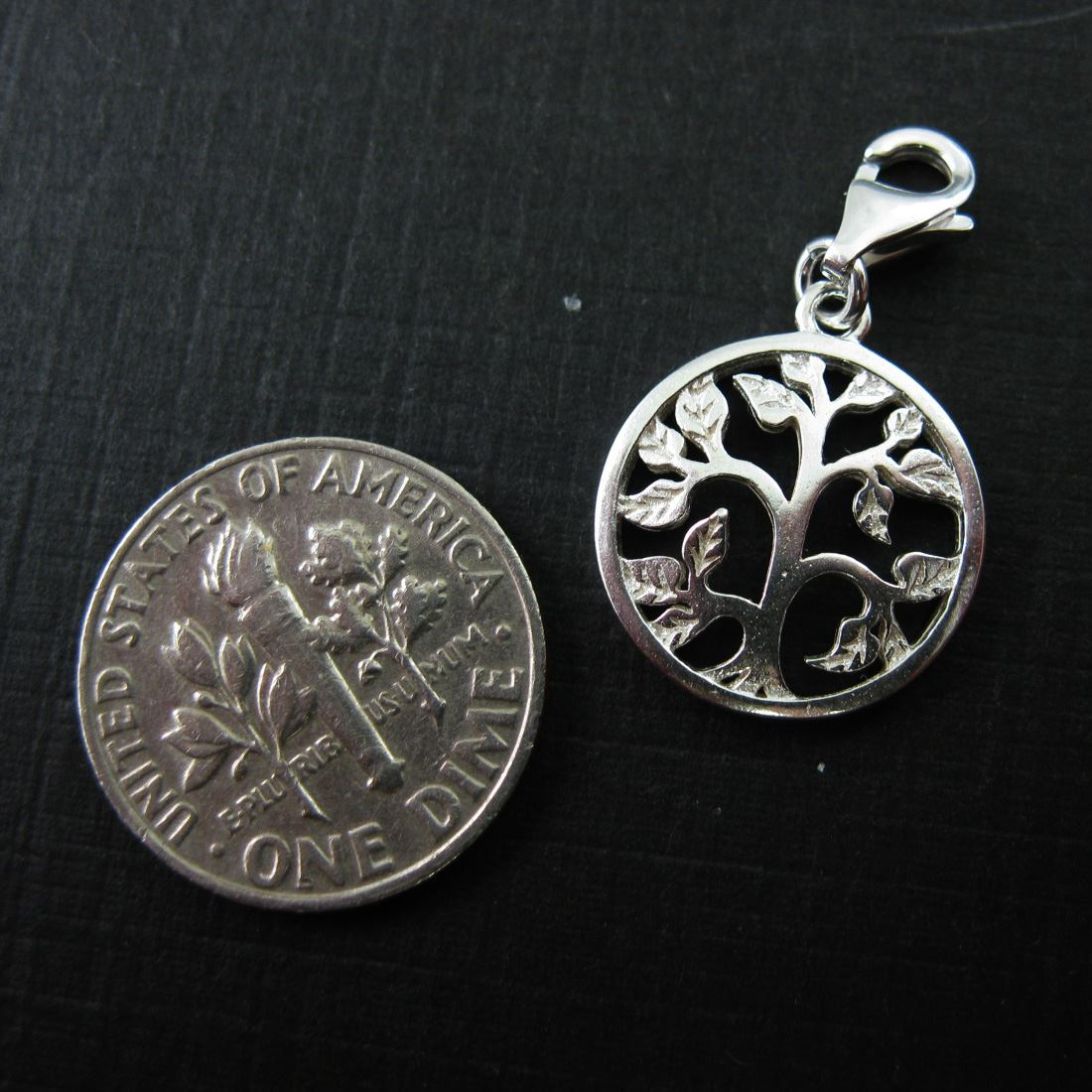 Sterling Silver Tree with Leaves Charm - Charm with Clasp - Charm Bracelet Charm- Add on Charm