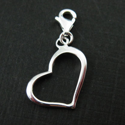 Sterling Silver Classic Heart Charm - Charm with Clasp - Charm Bracelet Charm- Add on Charm
