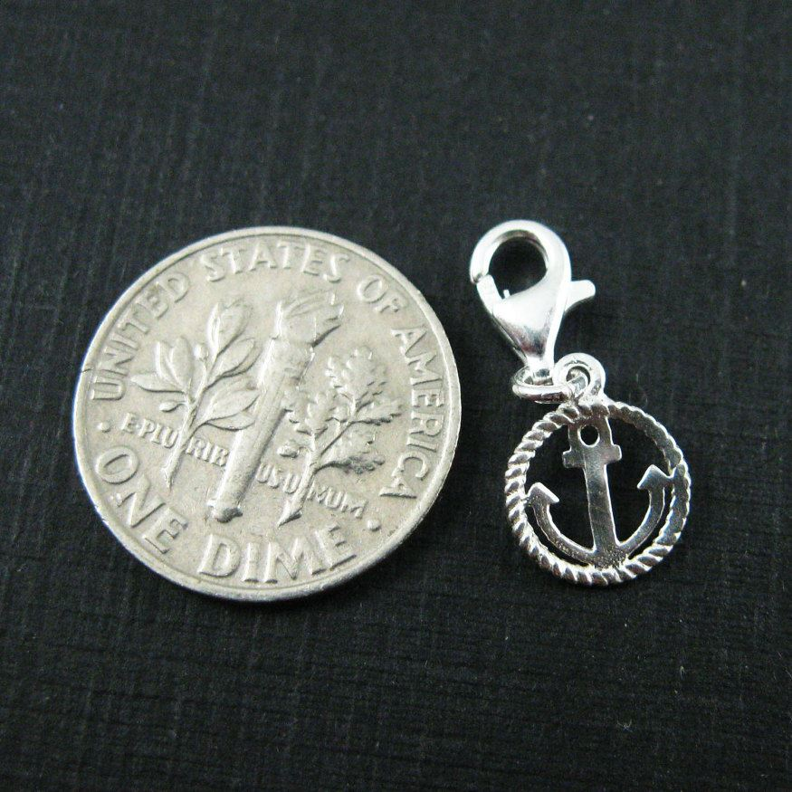 Sterling Silver Nautical Rope and Anchor Charm - Charm with Clasp - Charm Bracelet Charm- Add on Charm