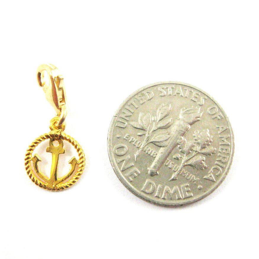 22k Gold plated Sterling Silver Nautical Rope and Anchor Charm - Charm with Clasp - Charm Bracelet Charm- Add on Charm