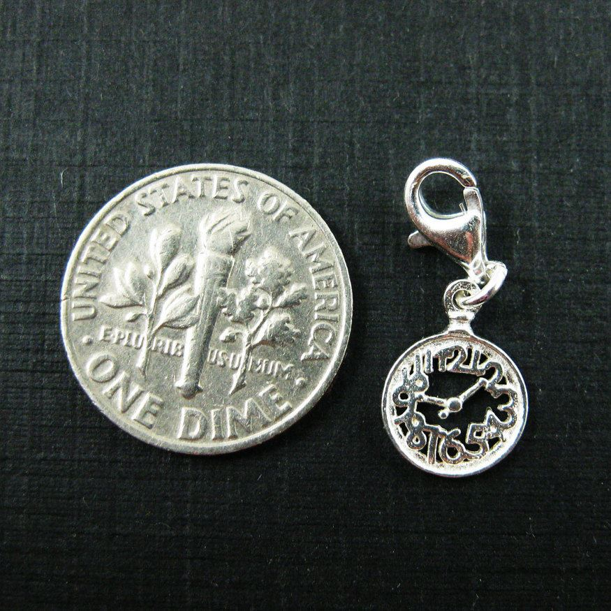 Sterling Silver Tiny Clock Charm - Charm with Clasp - Charm Bracelet Charm- Add on Charm
