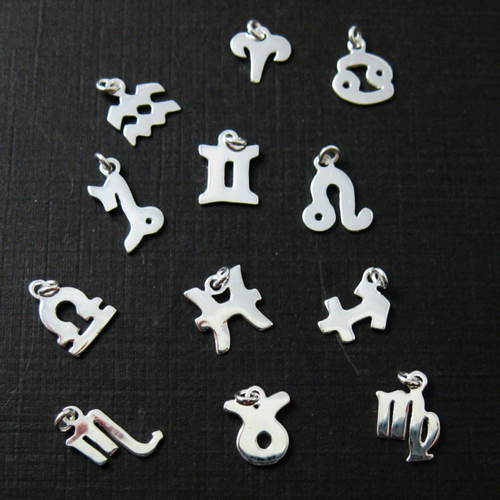 Sterling Silver Horoscope Charms, 925 Sterling Silver Zodiac Sign Charm with Clasp- Add on Zodiac Horoscope Charm