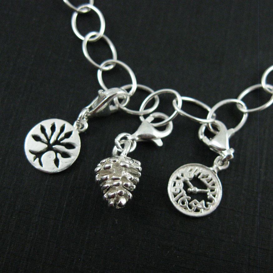 Sterling Silver Tiny Pinecone Charm- Charm with Clasp - Charm Bracelet Charm- Add on Charm