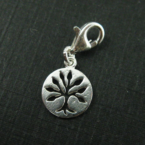 Sterling Silver Tree Disc Charm- Charm with Clasp - Charm Bracelet Charm- Add on Charm