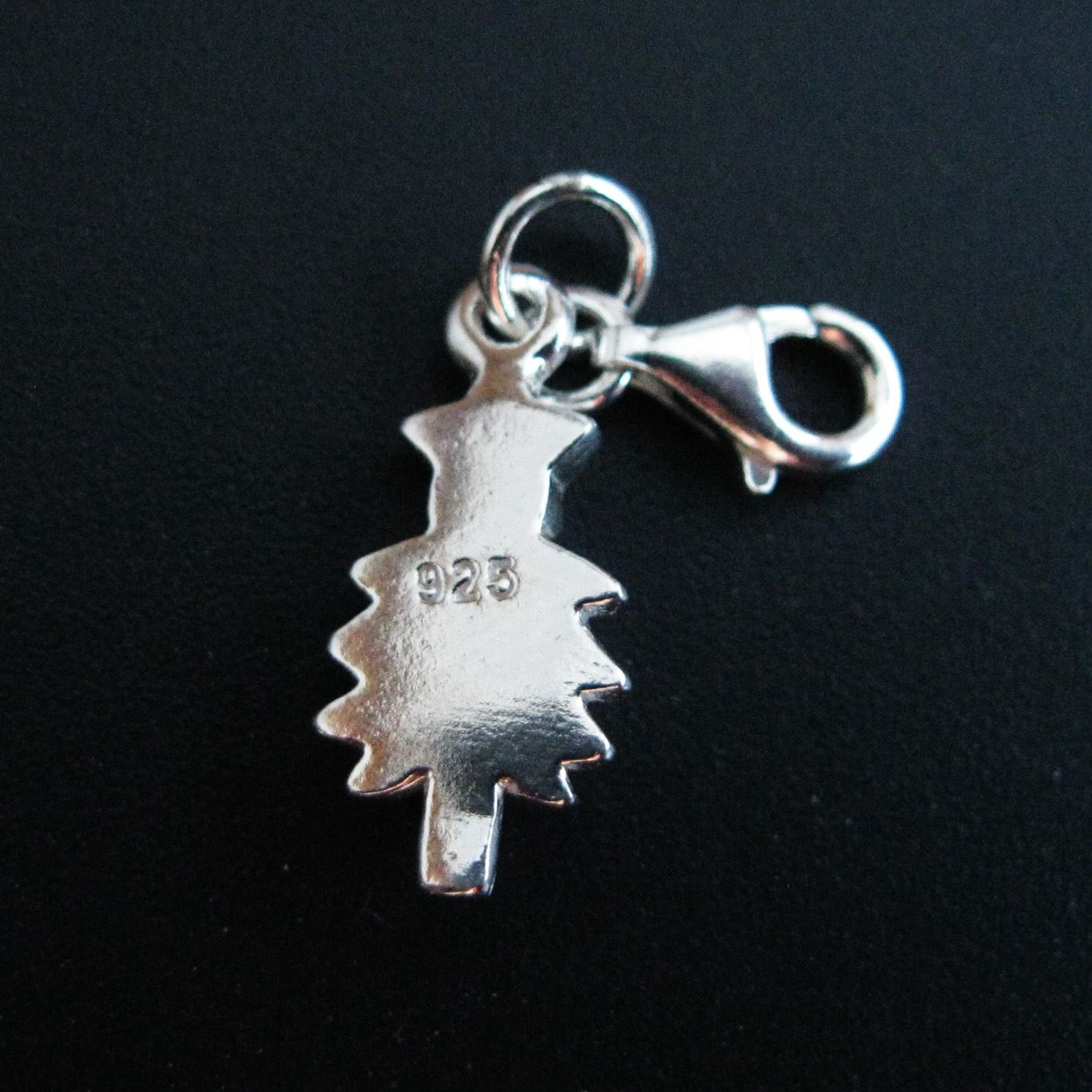 Sterling Silver Holiday Tree with Star Charm - Charm with Clasp - Charm Bracelet Charm- Add on Charm