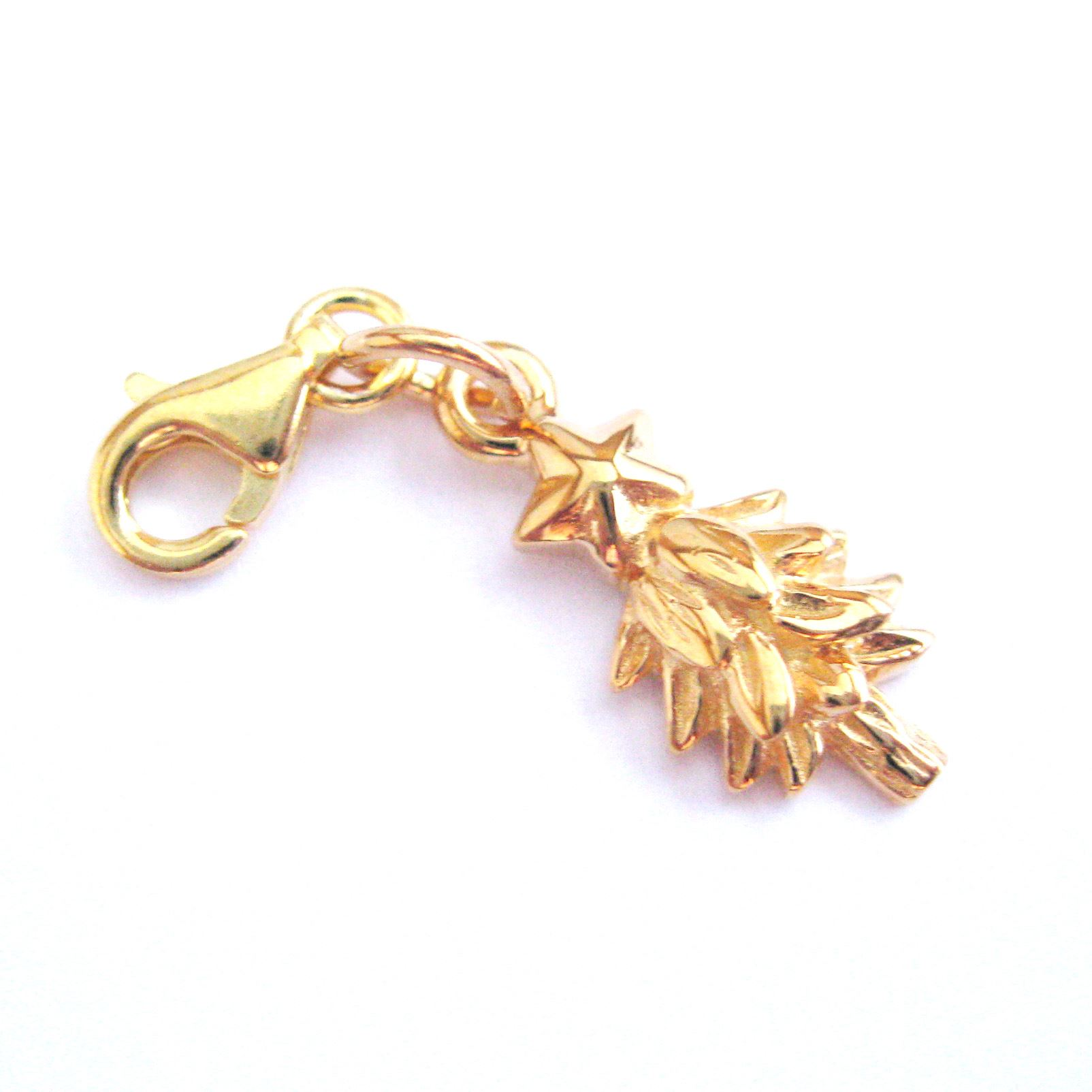 22K Gold plated  Sterling Silver Holiday Tree with Star Charm - Charm with Clasp - Charm Bracelet Charm- Add on Charm