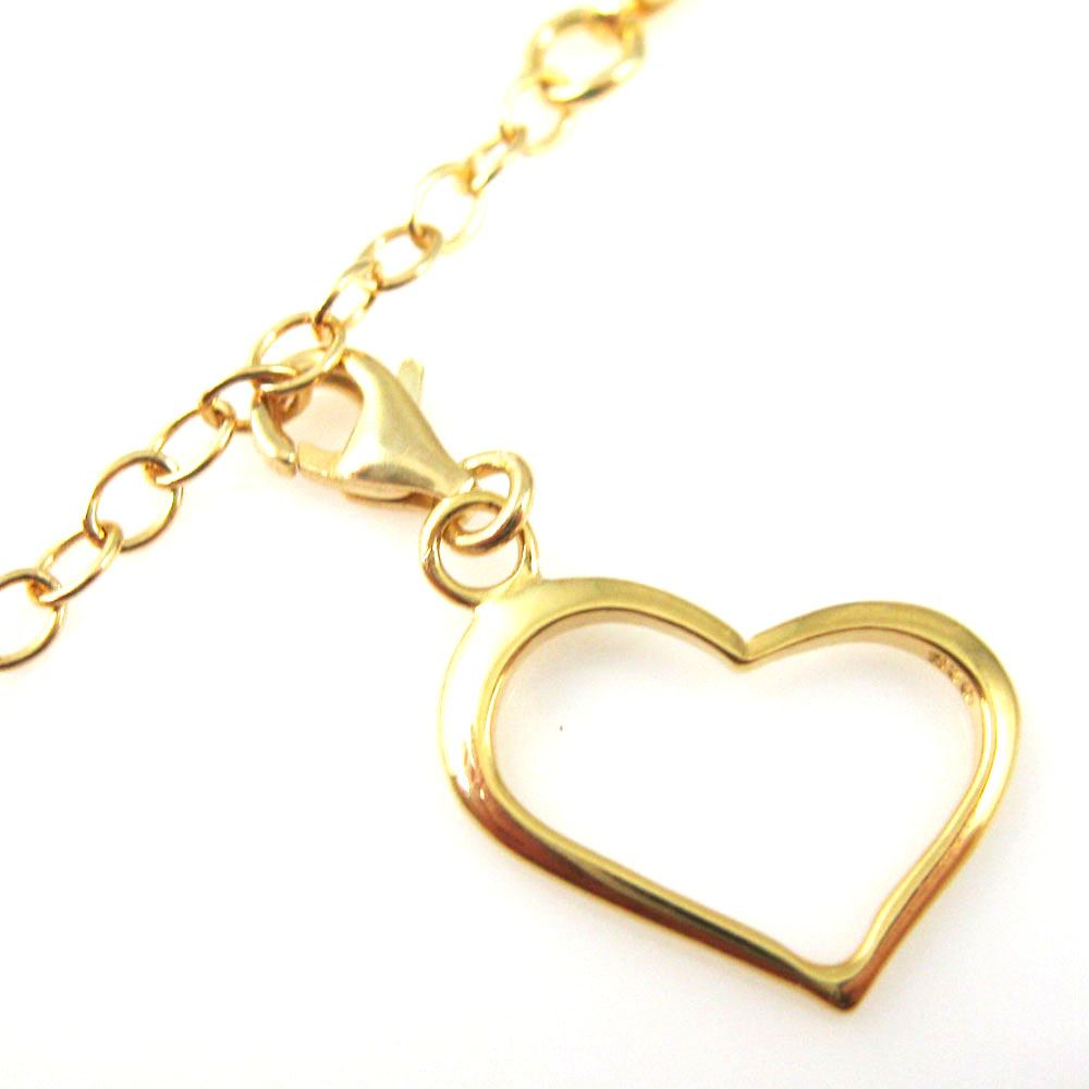 22K Gold plated Sterling Silver Classic Heart Charm - Charm with Clasp - Charm Bracelet Charm- Add on Charm