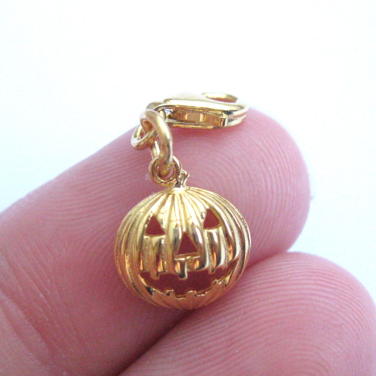22K Gold plated Sterling Silver Pumpkin Charm - Charm with Clasp - Charm Bracelet Charm- Add on Charm
