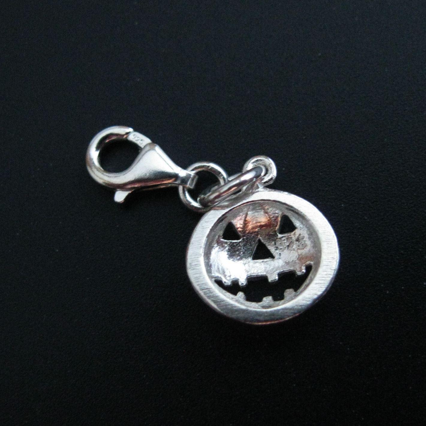 Sterling Silver Pumpkin Charm - Charm with Clasp - Charm Bracelet Charm- Add on Charm