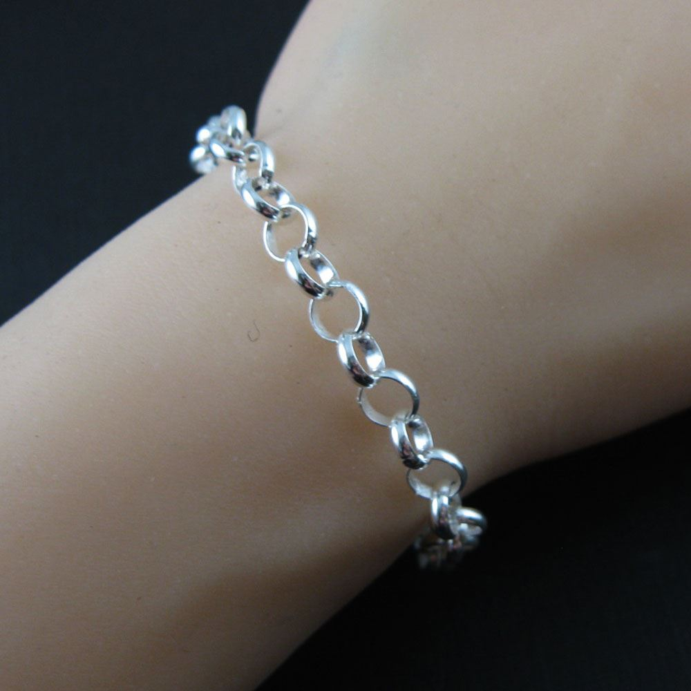 925 Sterling Silver Necklace - Bracelet - Anklet - Long Silver Chains - 6.5mm Huge Rolo Necklace Chain -All Sizes