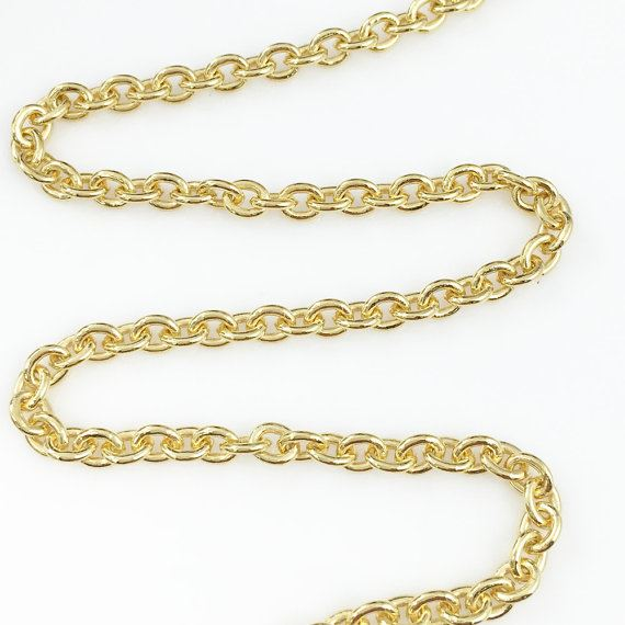 22K Gold plated 925 Sterling Silver Chain, Unfinished Bulk Chain, Heavy Cable Chain - 5 x 4mm Cable Oval ( sold per foot)