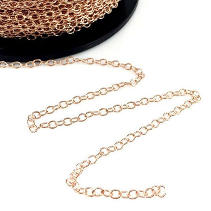 Rose Gold Plated over Sterling Silver, Unfinished Bulk Chain - Cable Oval - Cable Chain - Rose Gold Chain