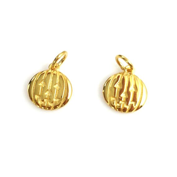Gold plated 925 Sterling Silver Pumpkin Charm Disc- Silver Jack-0-Lantern Charm -Halloween Charms - 9.5mm (1 pc)