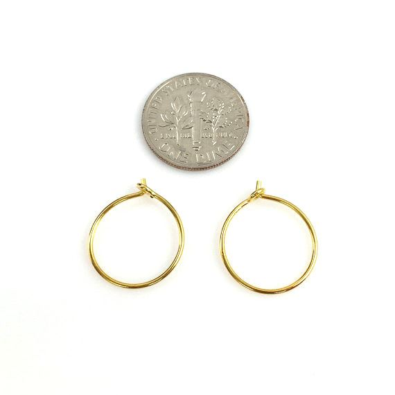 22K Gold plated over 925 Sterling Silver Findings - Simple Earring Hoops- Vermeil -15mm (2 pairs, 4 pcs)