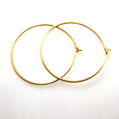 22K Gold plated over 925 Sterling Silver Findings - Simple Earring Hoops- Vermeil -20mm (2 pairs, 4 pcs)