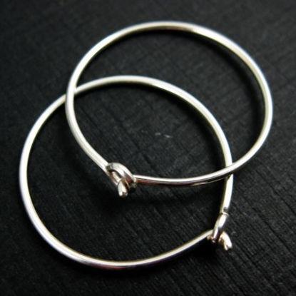 925 Sterling Silver Findings - Simple Earring Hoops- 15mm - Silver Hoops (2 pairs, 4 pcs)