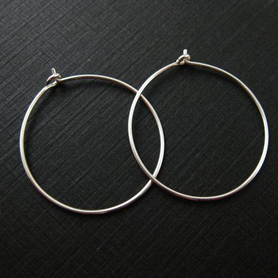 925 Sterling Silver Findings - Simple Earring Hoops - 30mm - Silver Hoops (2 pairs, 4 pcs)