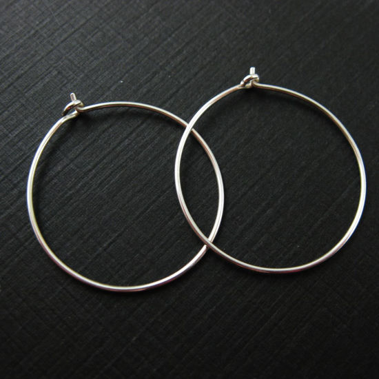 925 Sterling Silver Findings - Simple Earring Hoops - 25mm - Silver Hoops (2 pairs, 4 pcs)