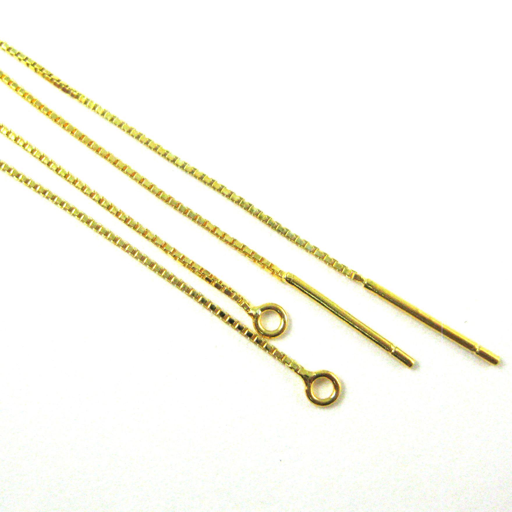 22K Gold over Sterling Silver Ear Thread, Long Dangle Threader Gold Earrings- 80mm long (2 pcs, 1 pair)