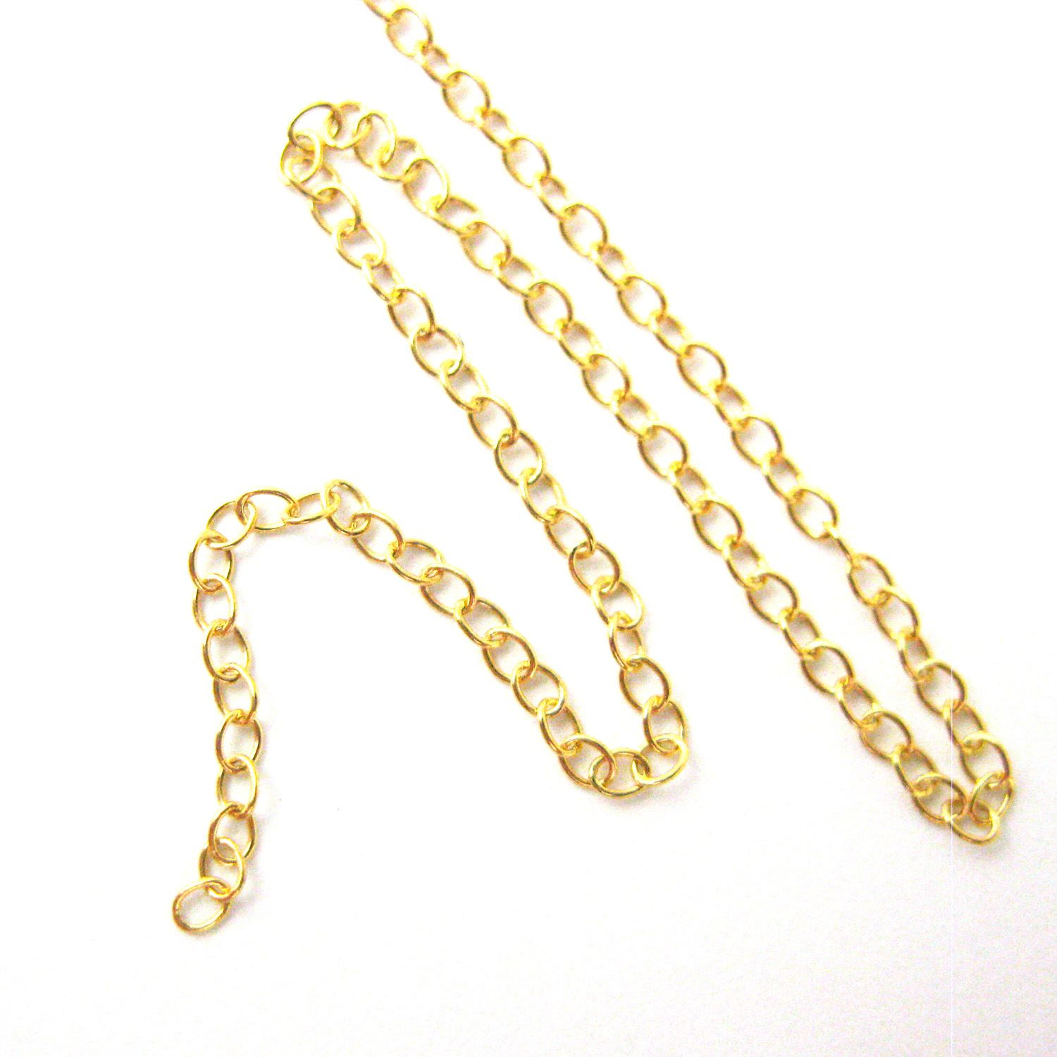 Gold Chain, Vermeil Sterling Silver Chain- Wholesale Bulk Chain - 2mm Strong Cable Oval Chain - Strong Chain - Unfinished Bulk Chain (sold per foot)