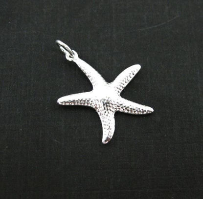 925 Sterling Silver Charm - Lovely Textured Starfish Charm- 25mm ( 1 pc)