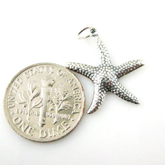 Oxidized 925 Sterling Silver Charm - Lovely Textured Starfish Charm- 25mm ( 1 pc)